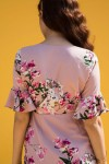 Flower Motif Short Dress With Frilled Sleeve Detail