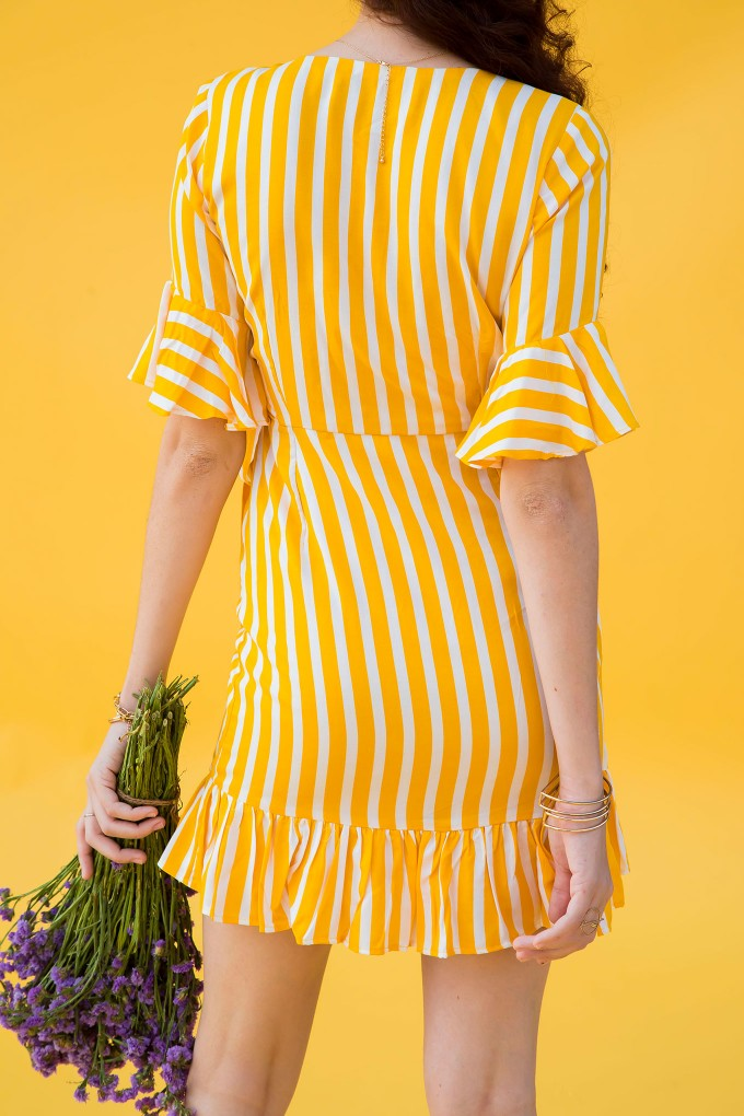 Yellow And White Striped Short Dress With Frill Detail On Sleeve