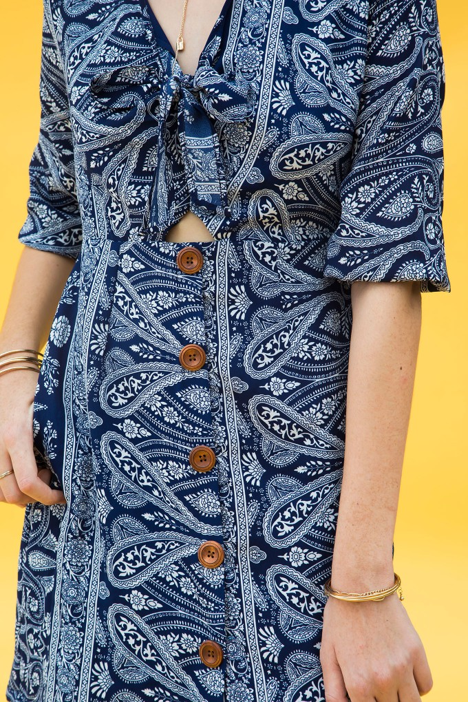 Paisley Print Dress With Front Tie Up