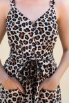 Sleeveless Animal Print Dress With Button Detail