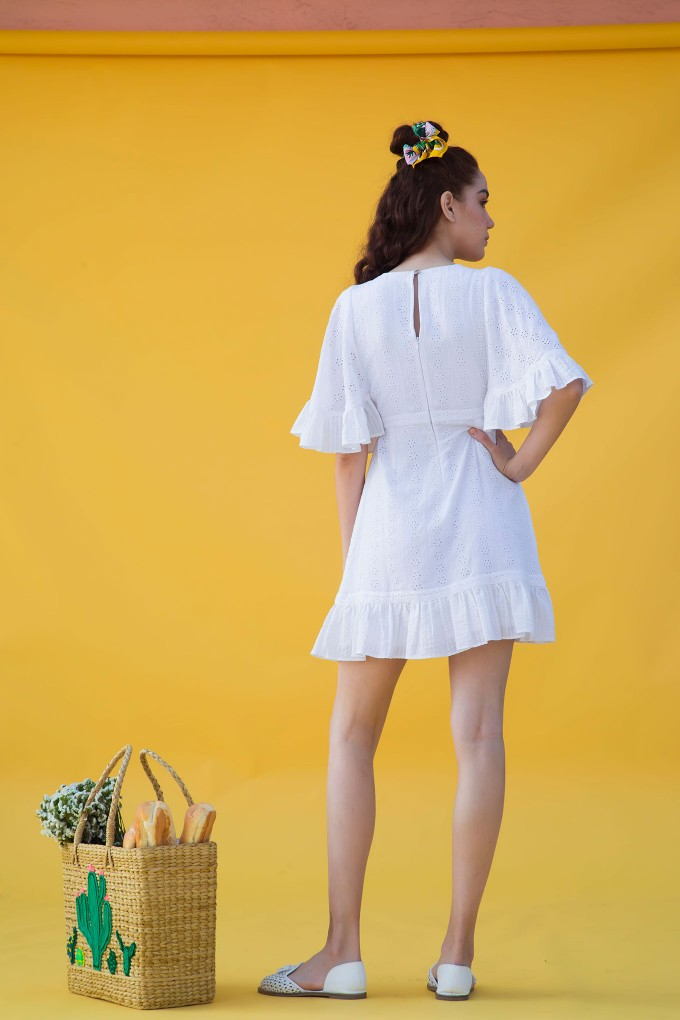 White Broderie Short Dress  With Sleeve Detail