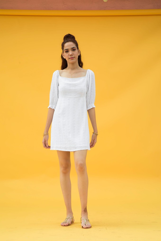 White Broderie Dress With Puffy Sleeves