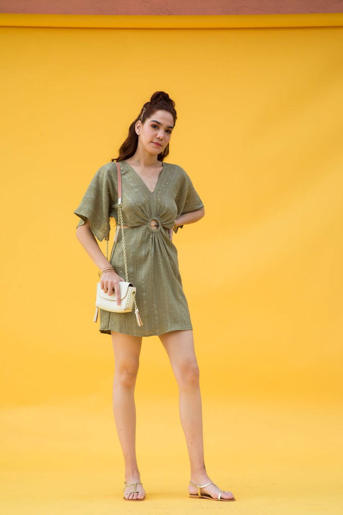 Short Dress In Green With Centre Cutout