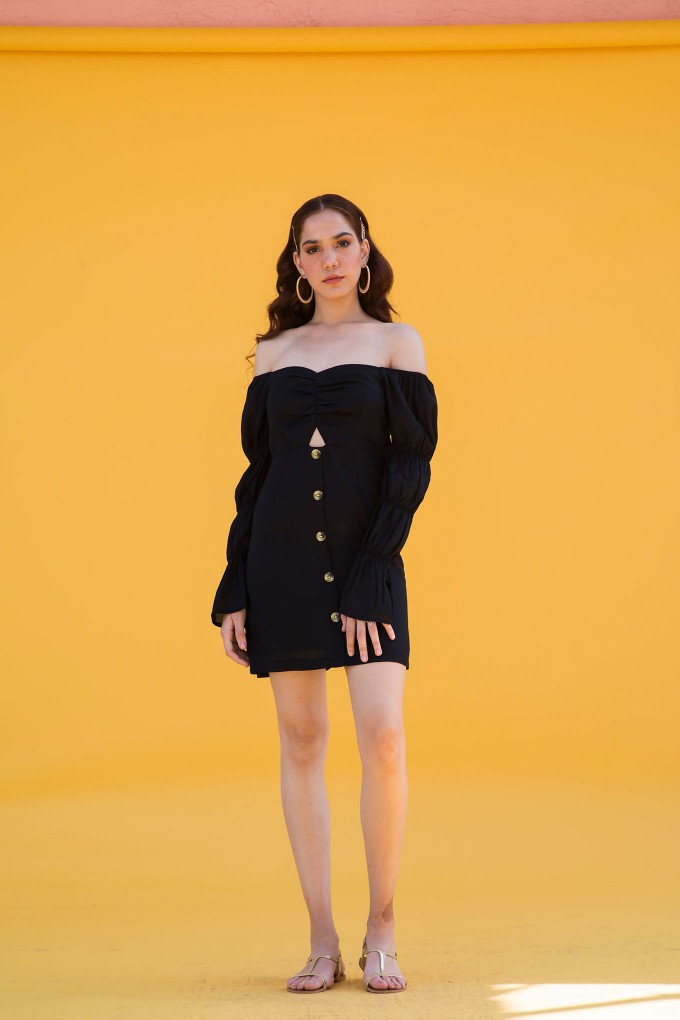 Short Black Milkmaid Dress With Wooden Button Detail