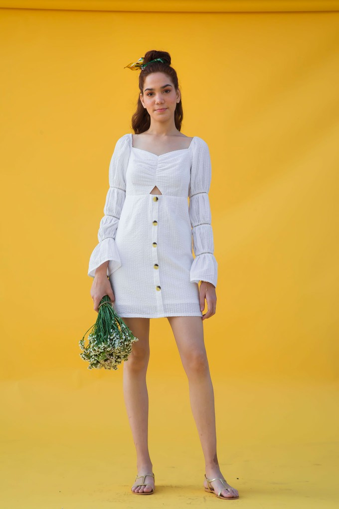 Milkmaid dress in white