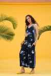 Blue Floral Print Jumpsuit With Side Tape