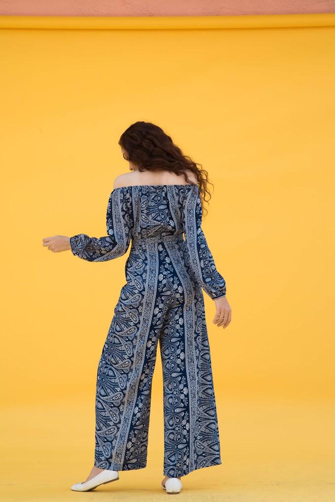 Paisley Print Off Shoulder Bubble Sleeve Jumpsuit