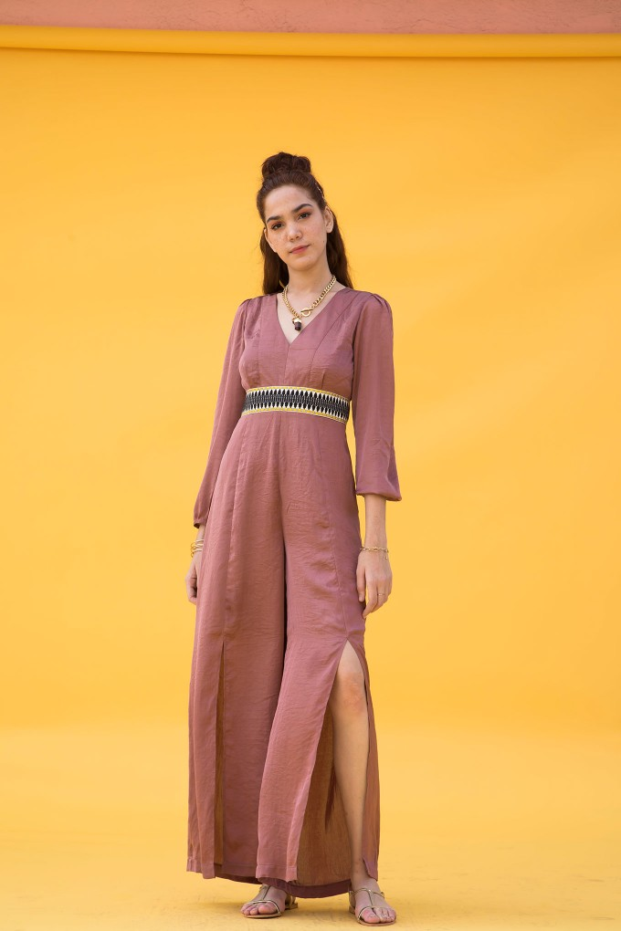 Bohemian Jumpsuit In Blush With Tape At Waist