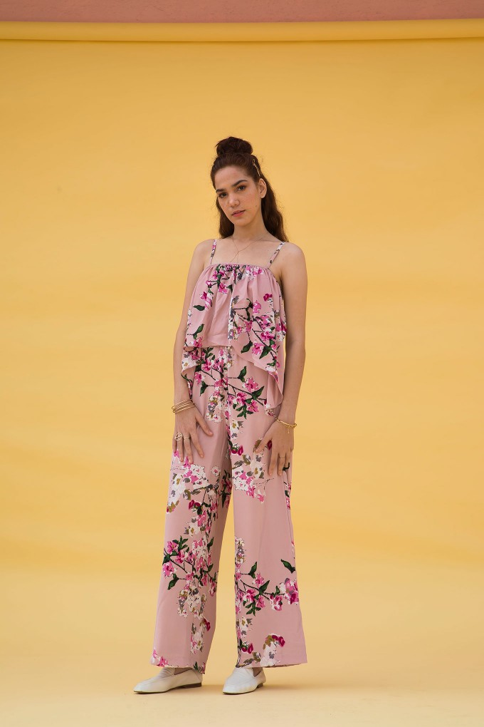 Big Flower Print Jumpsuit In Blush