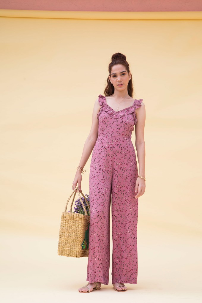 Dainty Floral Print Sleeveless Jumpsuit In Pink