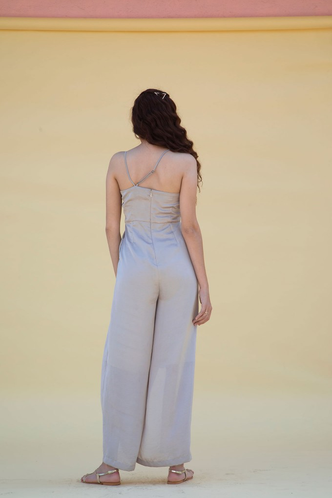 Cream Satin Jumpsuit With Slits