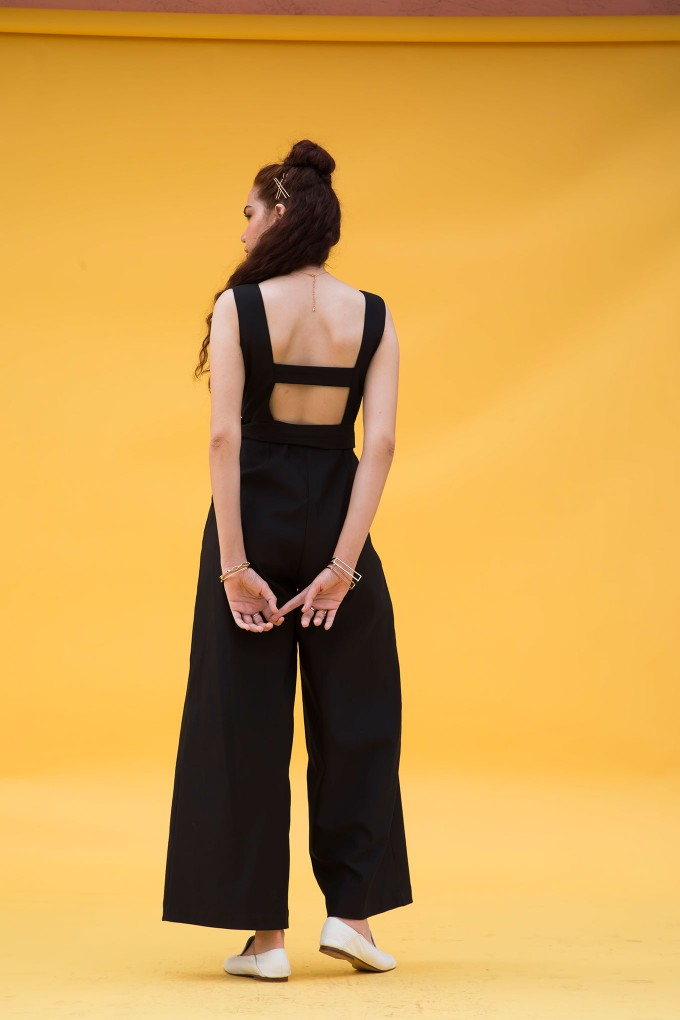 Black Square Neck Jumpsuit With Belt