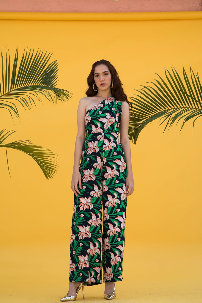 Multicolour Floral Print One Shoulder Jumpsuit