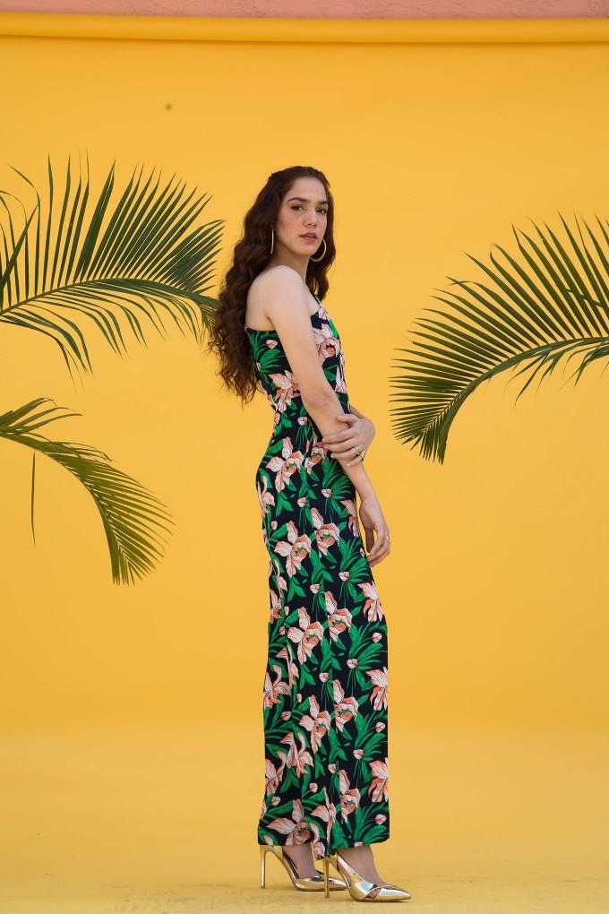 Multicolour Floral Print One Shoulder Jumpsuit