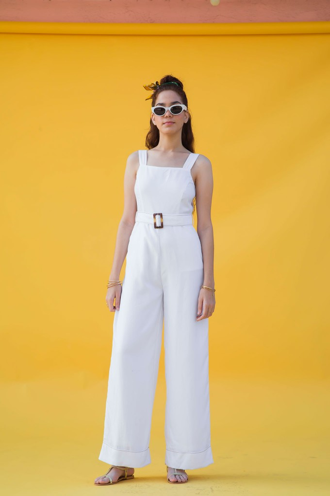 White Sleeveless Jumpsuit With Contrast Stitch Detail And Belt