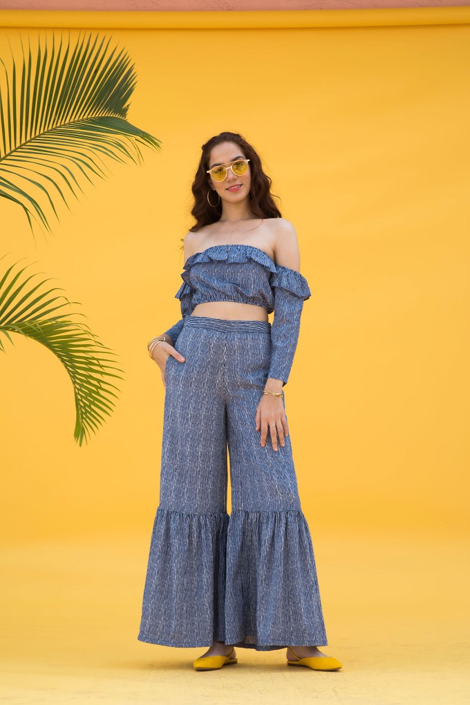 Blue And White Thin Striped High Waisted Pants With Frilled Bottoms