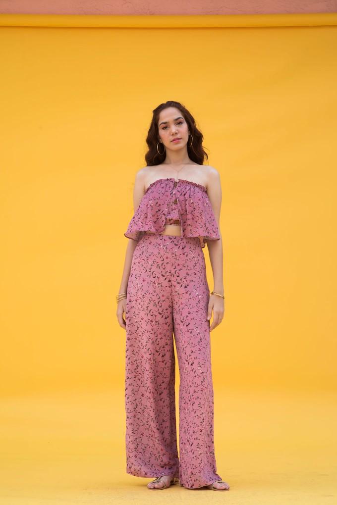 Blush Ditsy Floral Print Pants