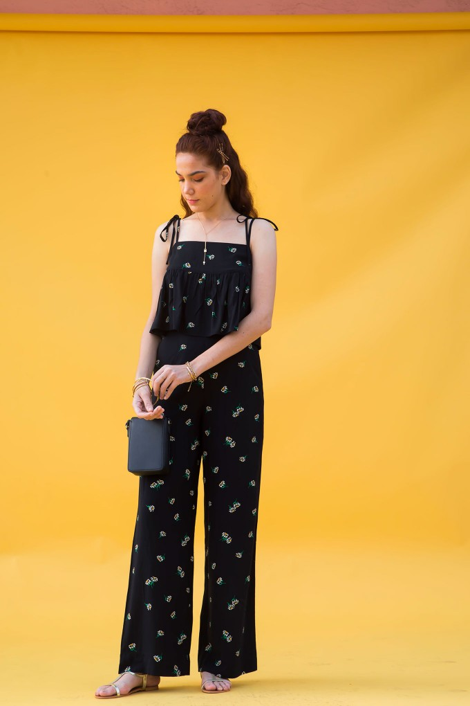 Black Daisy Print Pant With Yellow Side Tape