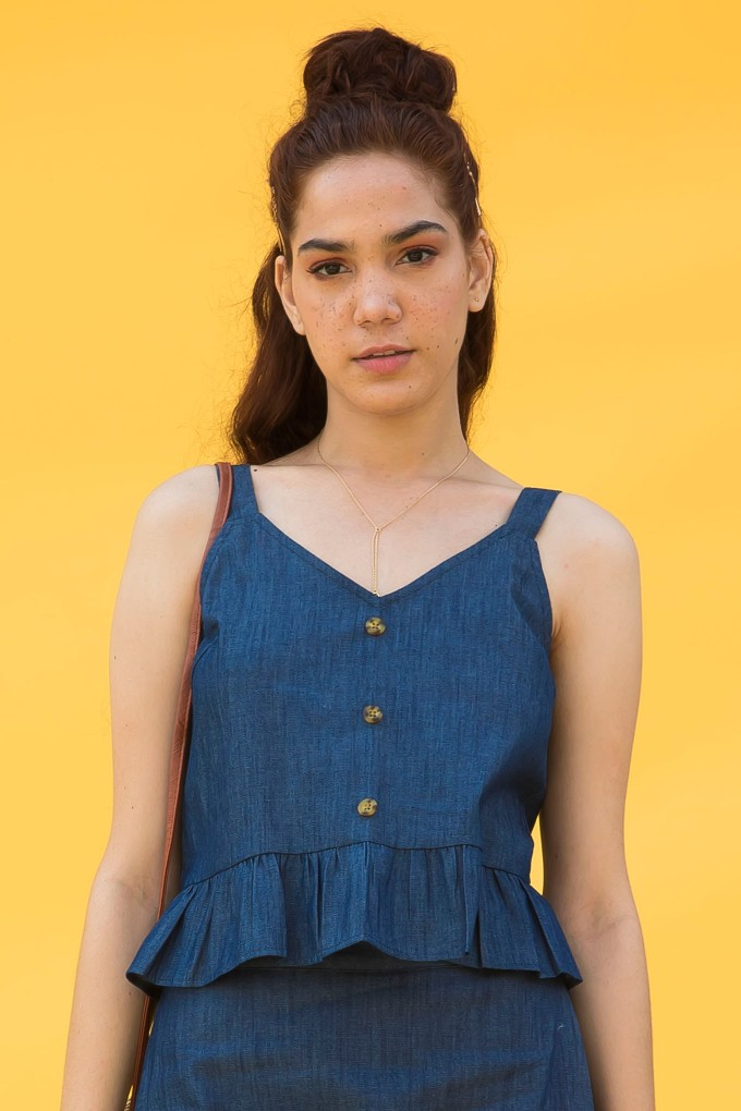 Sleeveless Denim Croptop With Button Detail