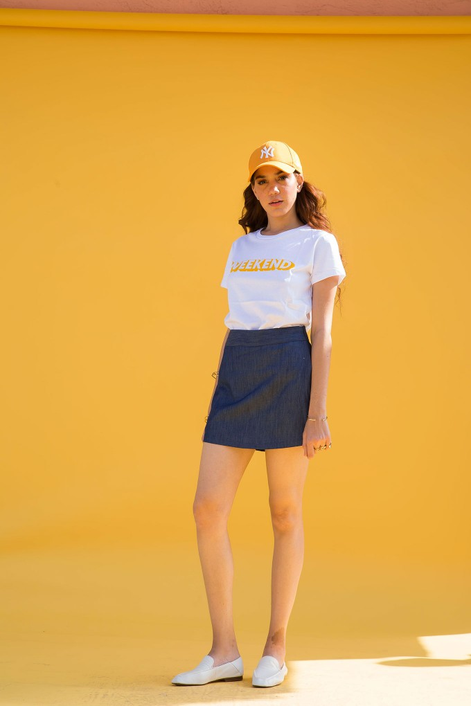 Denim top and skort set