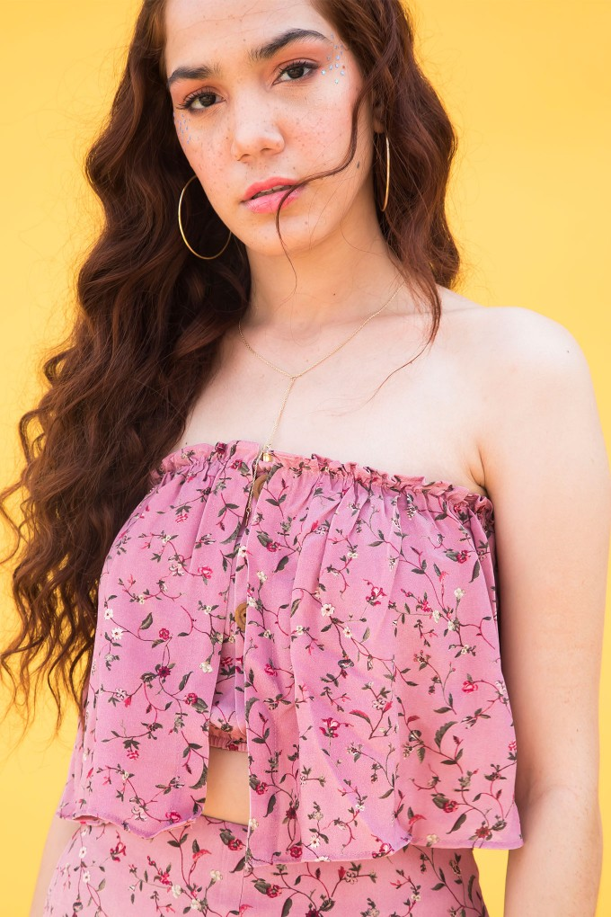 Blush Dainty Floral Print Off Tube Top
