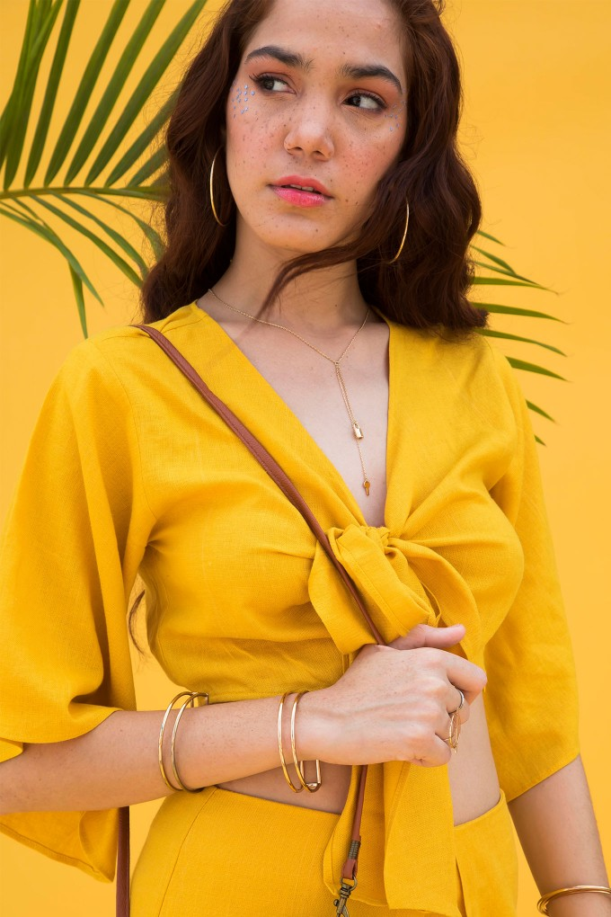 Yellow Front Knot Crop Top With Sleeves
