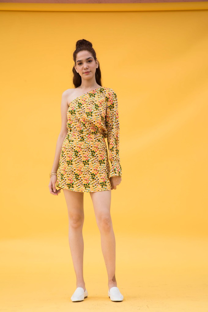 Yellow floral one shoulder top and skort set