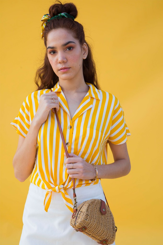 Yellow And White Stripes Front Tie Up Shirt