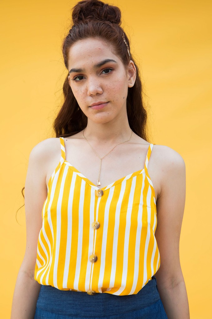 Yellow And White Stripes Camisole