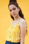 Yellow and white striped camisole and denim skort set