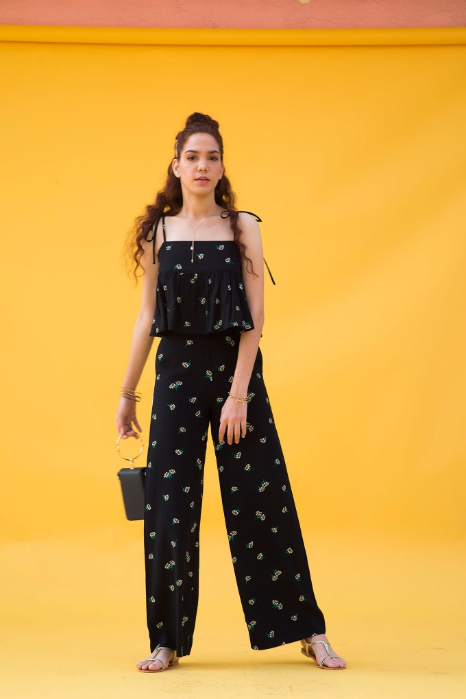 Black daisy crop top and pant set