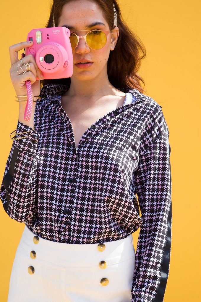 Houndstooth Shirt With Black Side Tapes