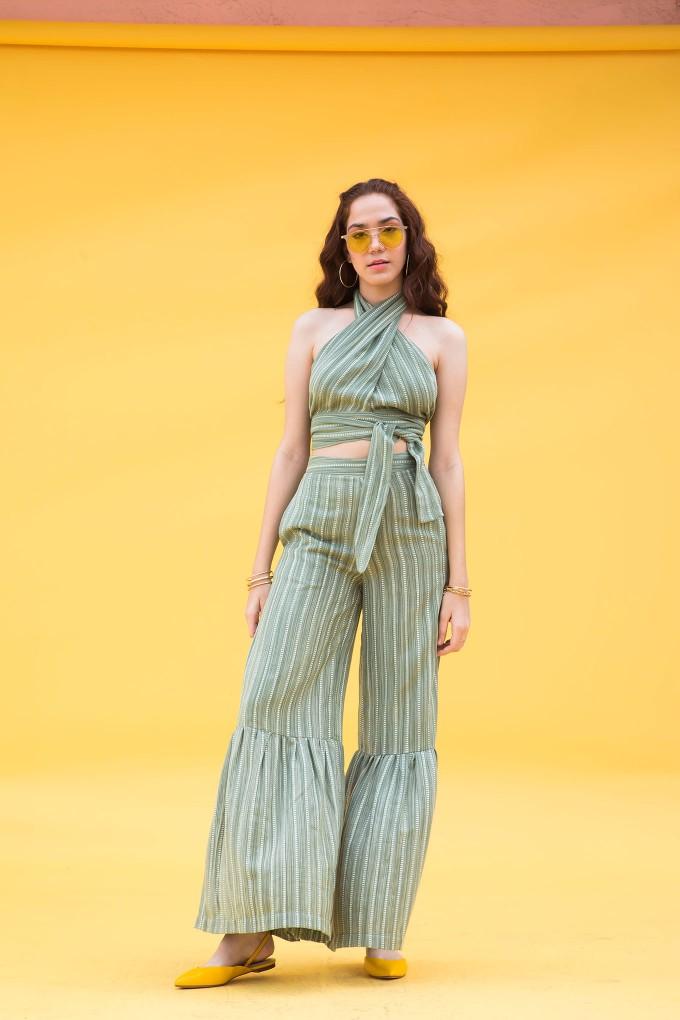 Green wraparound top and pant set