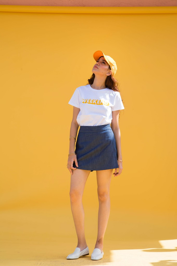 Weekend Tshirt and denim skort set