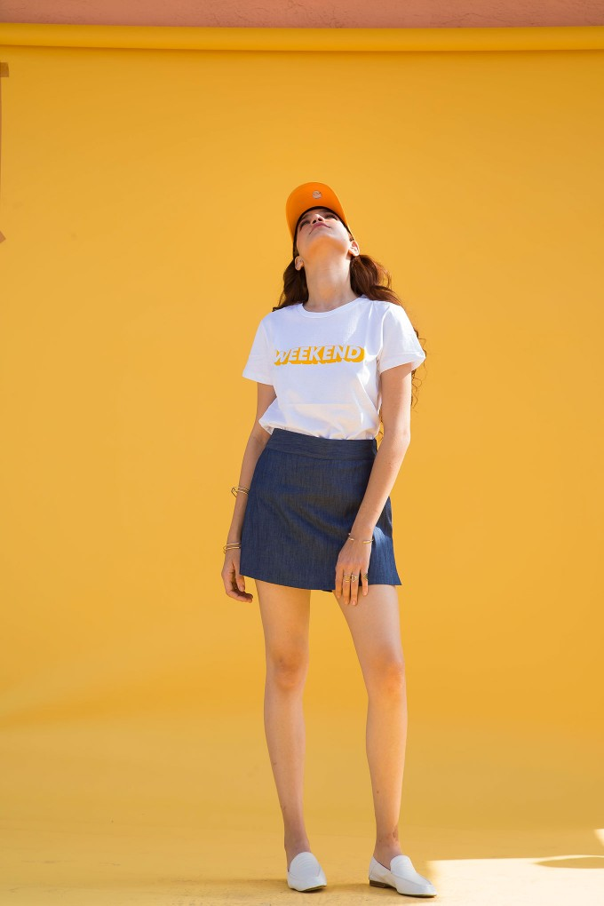Weekend Tshirt and denim skort set
