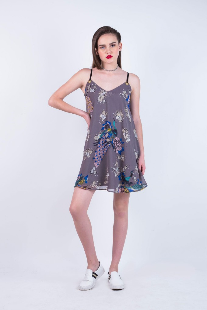 Grey Printed Spaghetti Dress with Eyelets