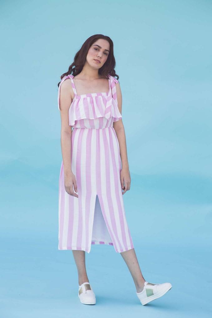 Pink and white front slit shoulder tie up dress