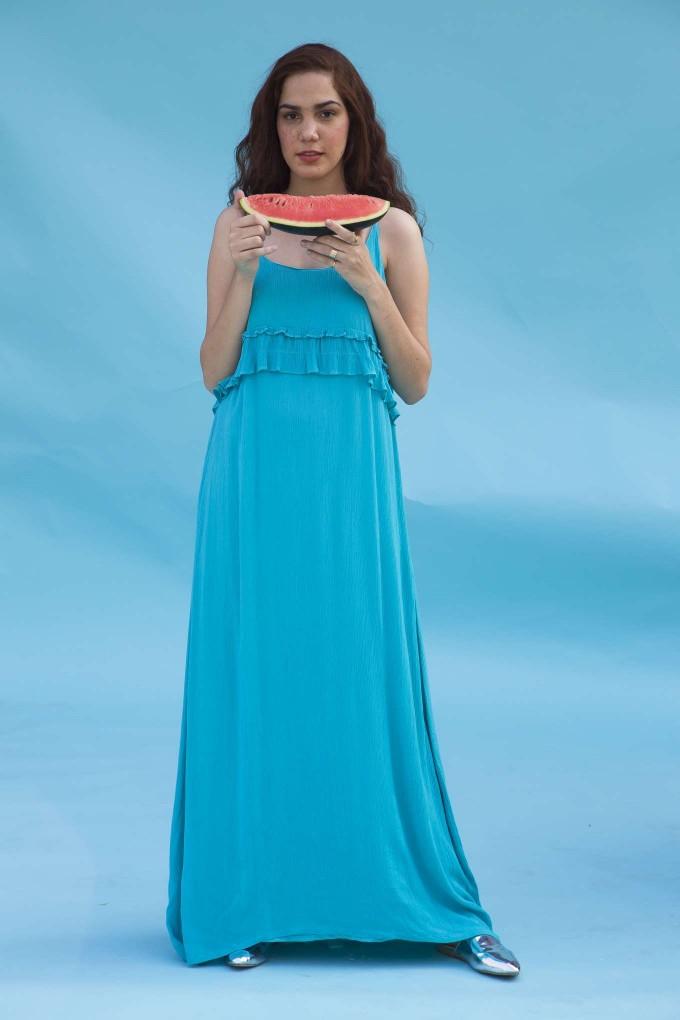 Turquoise blue long spaghetti dress