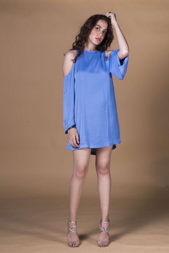 Blue short cold shoulder dress