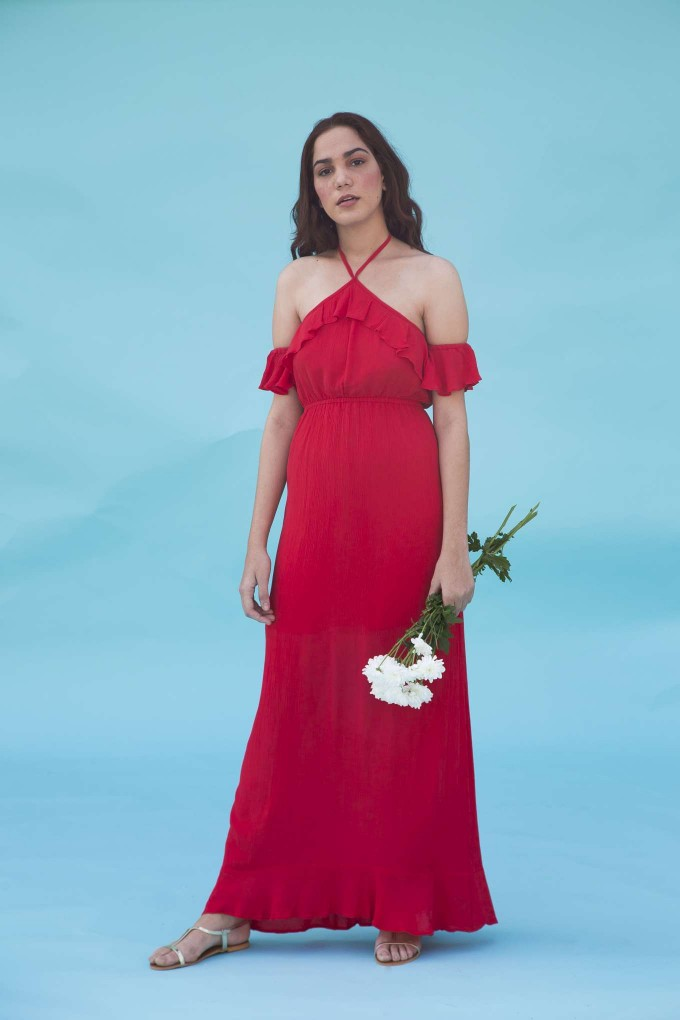 Red long halter dress with frill sleeves