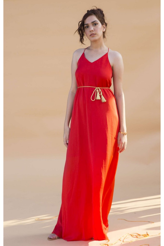 Red hammered satin long dress