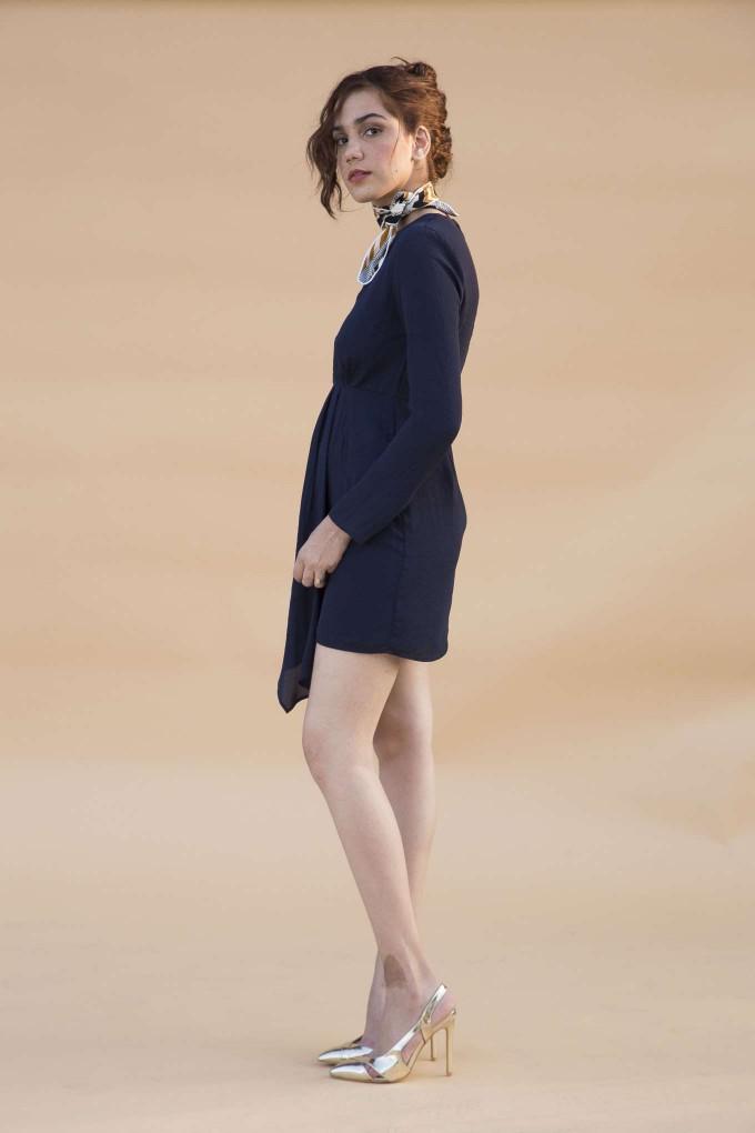 Navy blue hammered georgette short dress