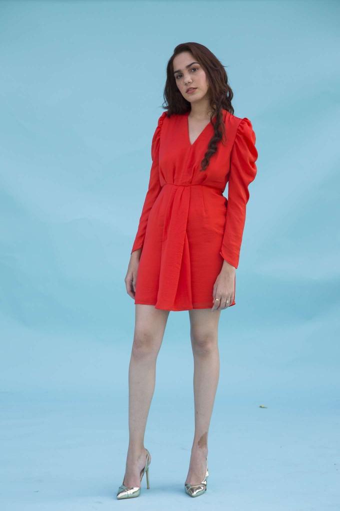 Bright red ruffled full sleeve short dress