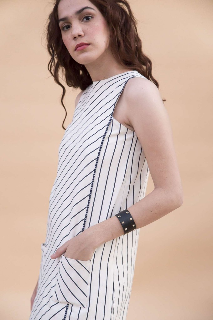 Cream and navy bold stripes short dress
