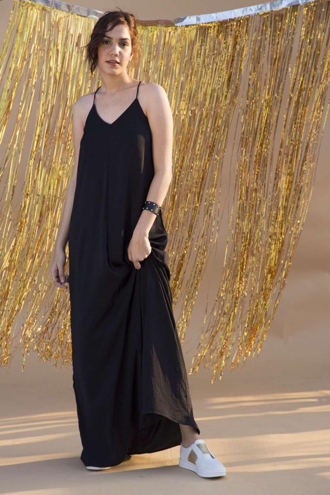 Black hammered satin long dress