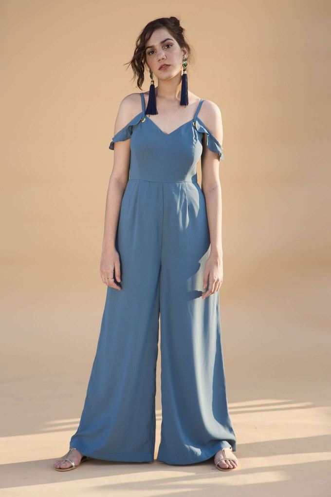 Agean blue jumpsuit with frill sleeves