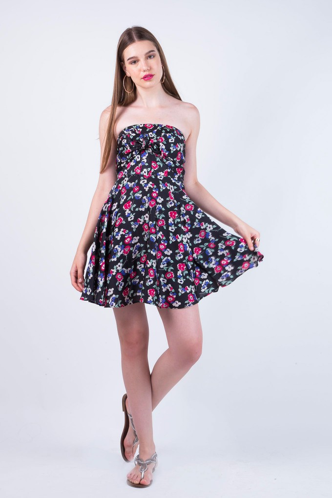 Tracy Black Tube Multi Colour Floral Dress