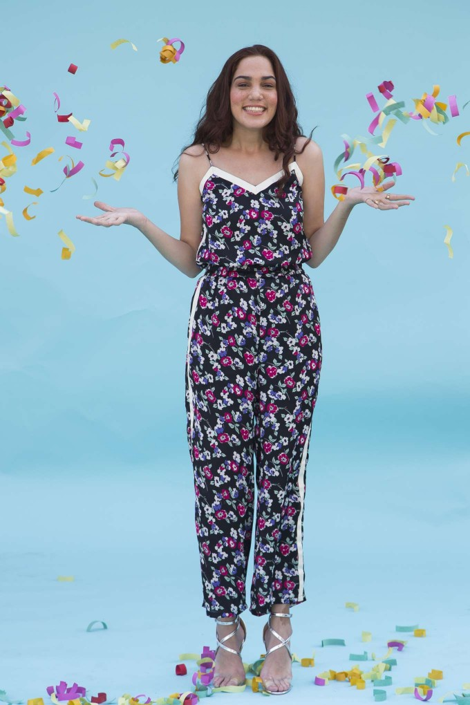 Black floral jumpsuit with cream tape