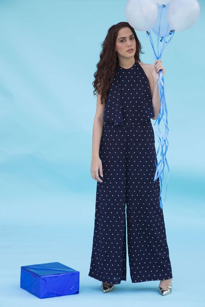 Navy blue and white polka jumpsuit