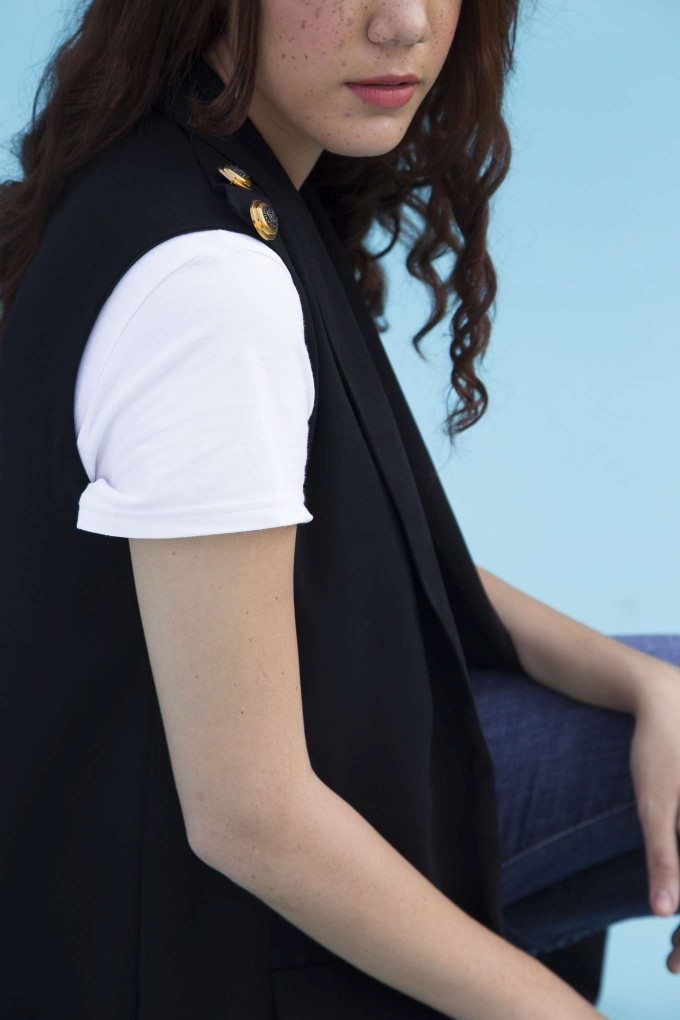 Black longline blazer with back slit